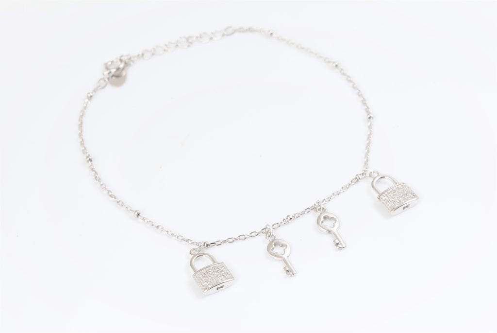Lock and key connector charm bracelet