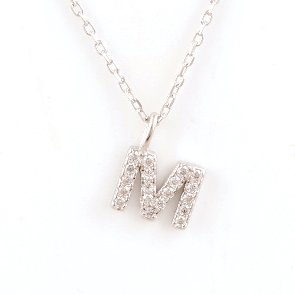 Initial cubic sterling silver necklace