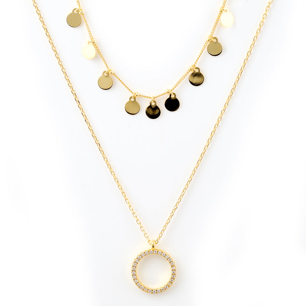 Danica double gold necklace
