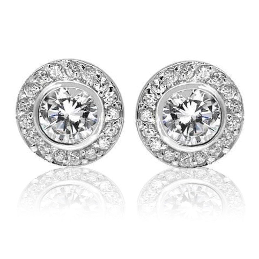 Double round solitaire studs in sterling silver