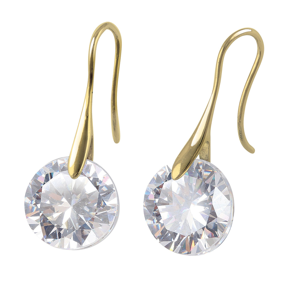 swarovski gold cubic drop earrings
