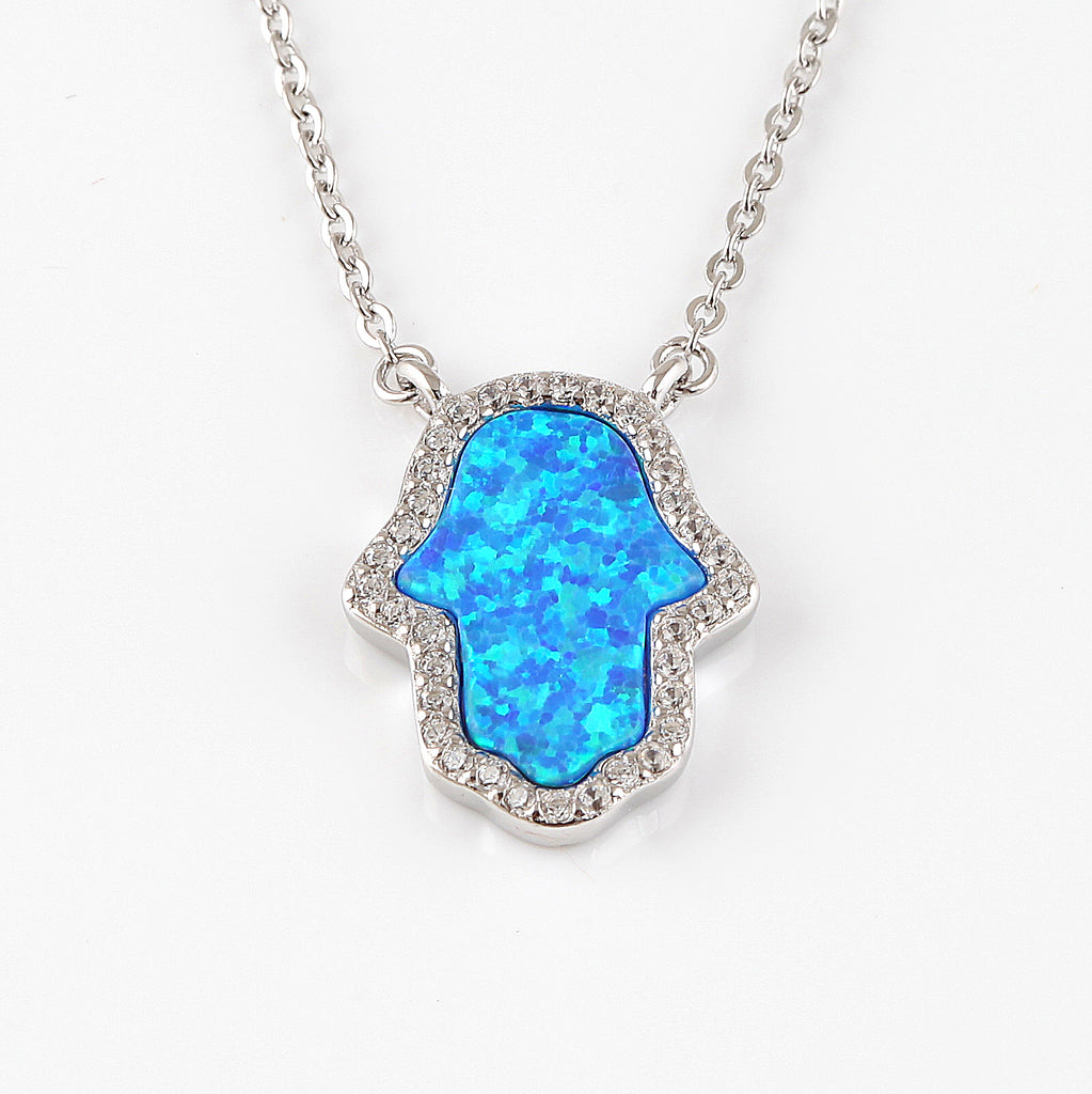 Blue opal hamsa charm cubic necklace