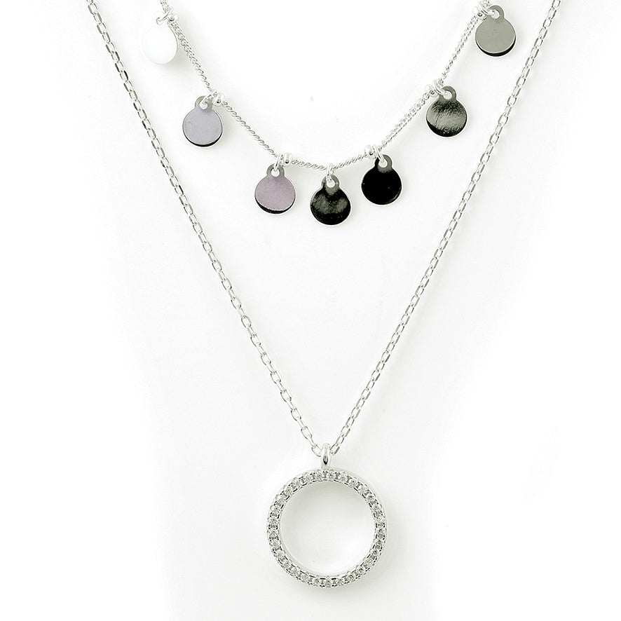 Danica double silver necklace