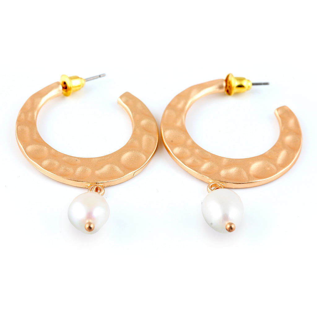 Gold hoops with pearl drop