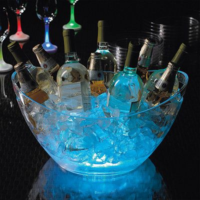 glow stick in ice bowl or bucket outdoor halloween party idea