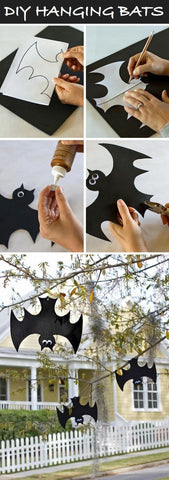 DIY hanging bats tristartents.com 10 awesome outdoor halloween party ideas