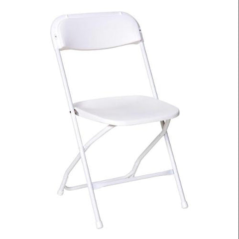 5 White Folding Chairs