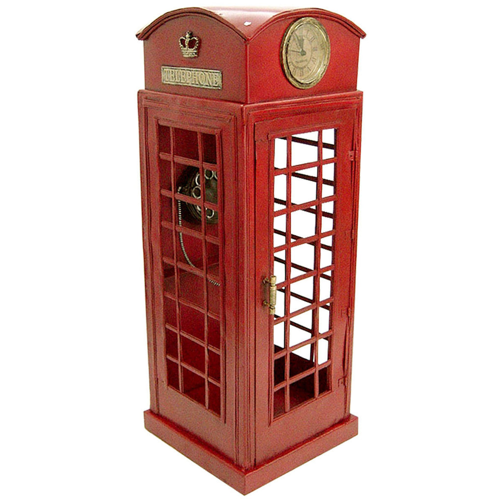 Pretty Valley Home - Retro Classic Handmade Iron '1920 RED LONDON TELEPHONE BOOTH' Model Craft Figure