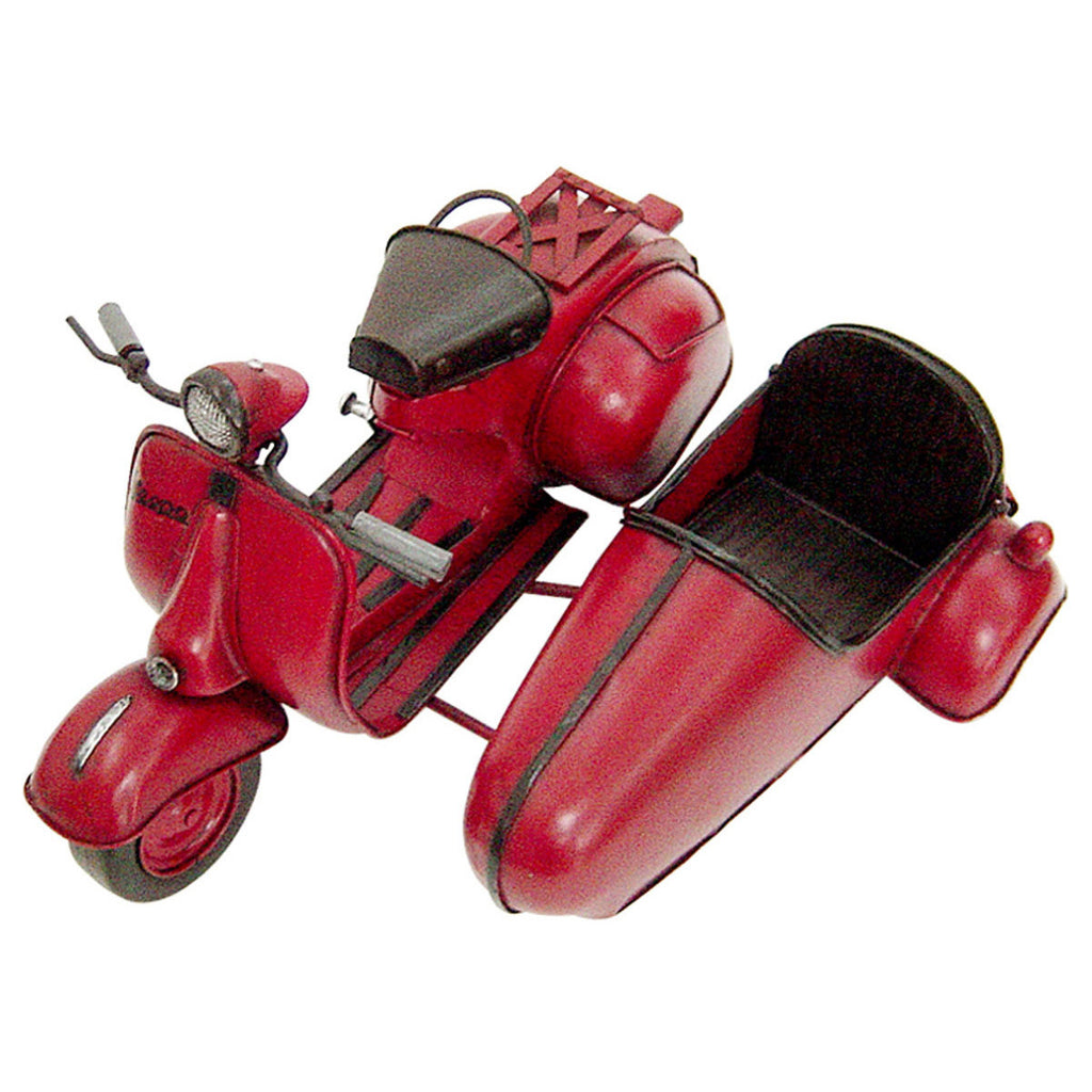 Pretty Valley Home - Retro Classic Handmade Iron 'RED VESPA W/SIDECAR' Model Craft Figure