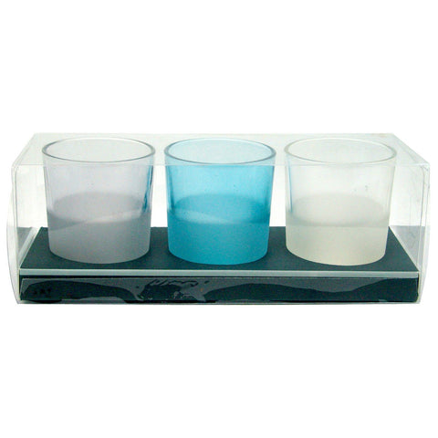 Pretty Valley Home - Blue & White Glass Tealight Candleholder