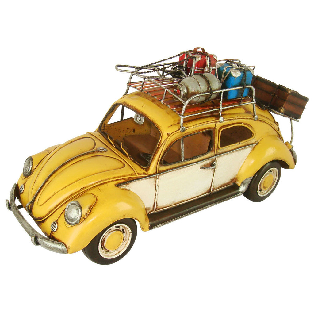 Pretty Valley Home - Retro Classic Handmade Iron '1934 Yellow Vw Beetle W/Baggage Shelf' Model Craft Figure
