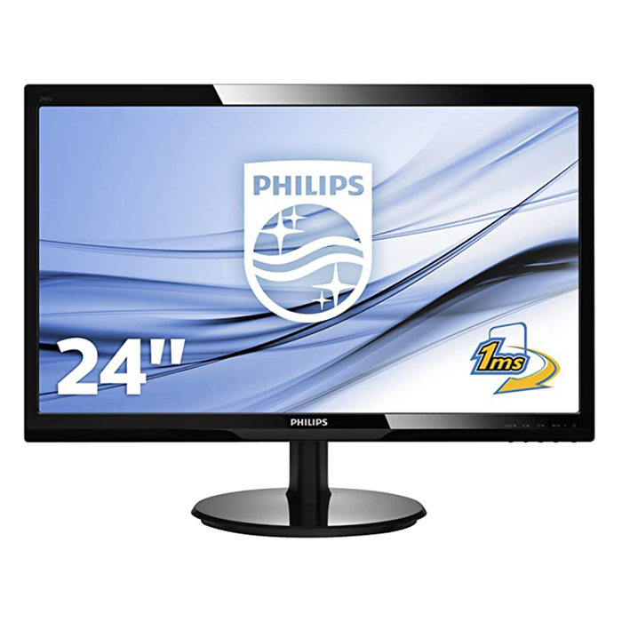 "Philips 246V5 24"" Monitor, 1920 x 1080 @ 60 GHz 1000:1 / 10000000:1 Contrast Ratio, 16:9, Black"