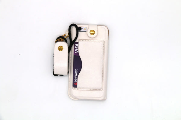 Leather Wallet and Protective Case with Credit Card ID Holders Carrying Case for iPhone - White