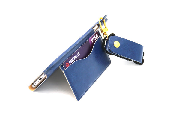 Leather Wallet and Protective Case with Credit Card ID Holders Carrying Case for iPhone - Blue