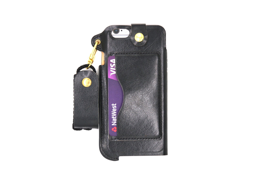 Leather Wallet and Protective Case with Credit Card ID Holders Carrying Case for iPhone - Black