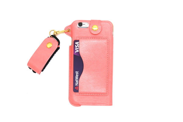 Leather Wallet and Protective Case with Credit Card ID Holders Carrying Case for iPhone - Pink