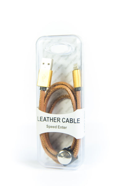 Leather USB Data Sync Cable Wire - Brown
