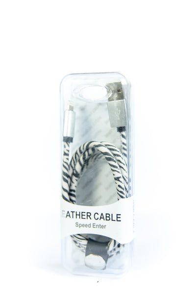 Leather USB Data Sync Cable Wire - Black & White