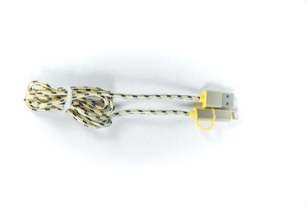 High Quality 2M Colorful Rope Braided Fabric USB Data Sync Charger Cable Wire - Yellow