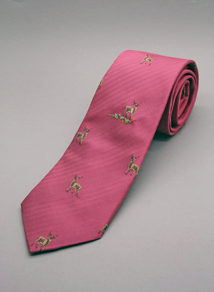 pink woven tie