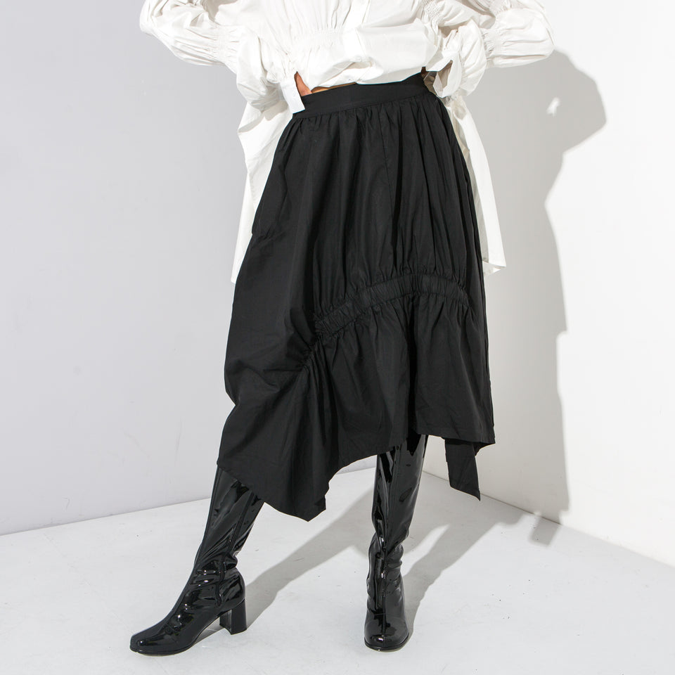 Black Ruche Midi Skirt*