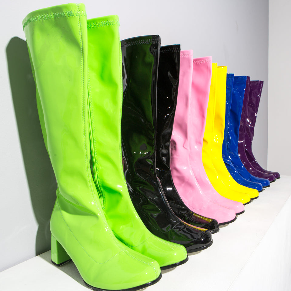 Various Coloured Knee High Patent Boots*
