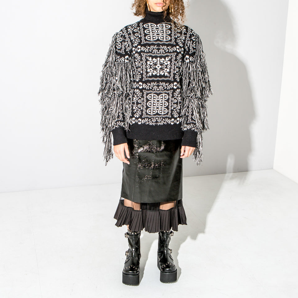 Black Fringed Knitted Jumper*