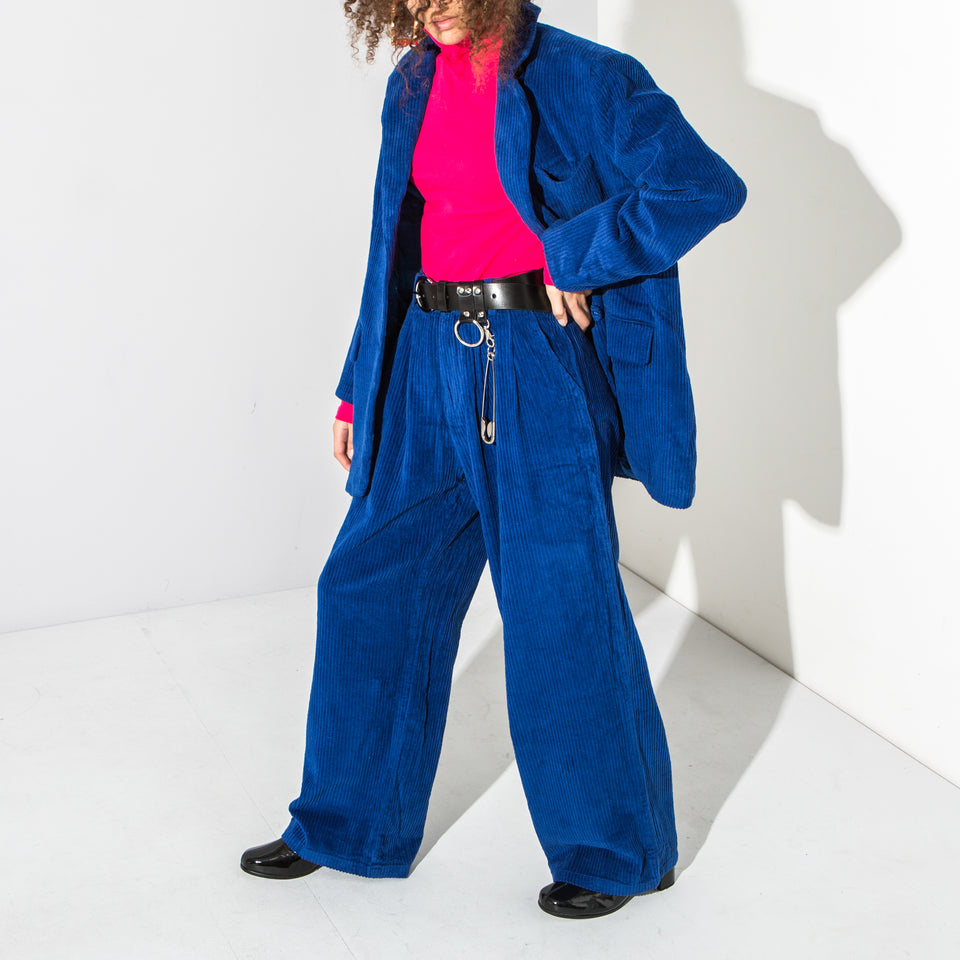 Blue Corduroy High Waist Trousers*