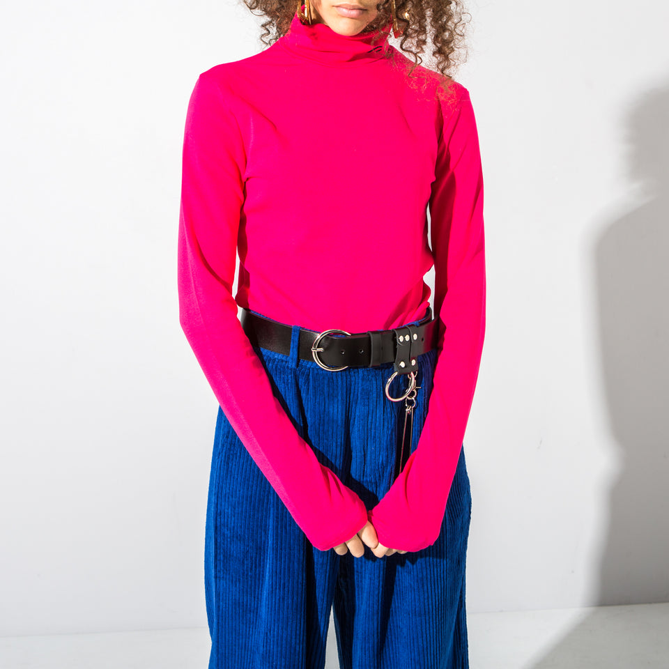 Bright Pink Turtle Neck Top*