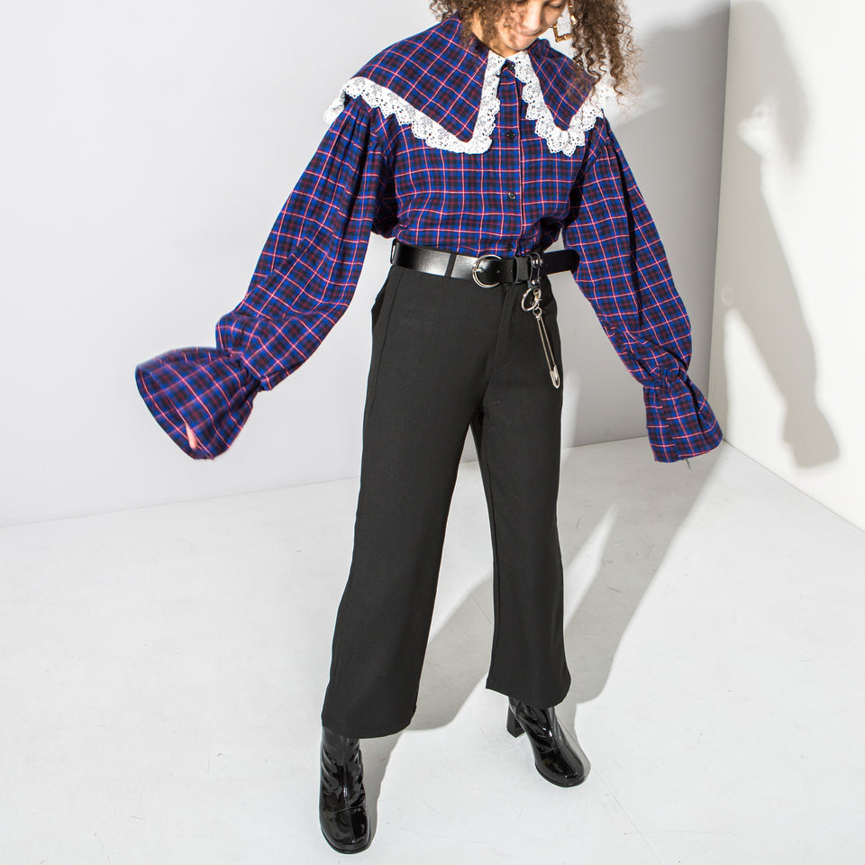 Purple Check Frilled collar Blouse*