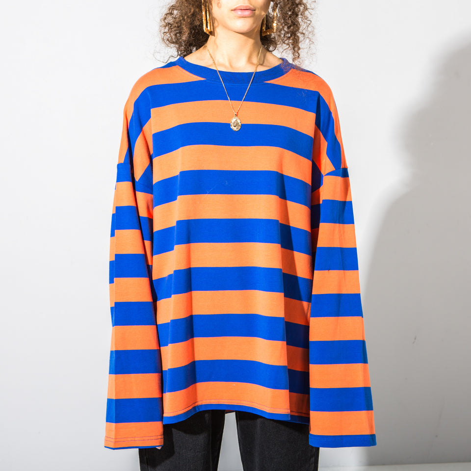 Orange and Blue Striped Long Sleeve*
