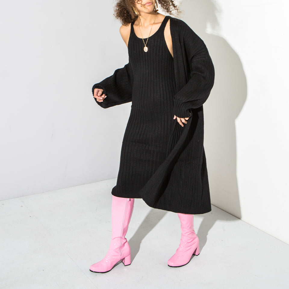 Black Knitted Cardi and Vest Dress Set(pre - order)*