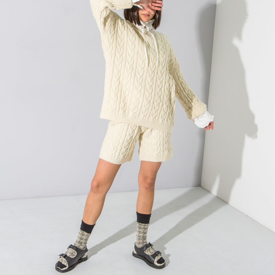 Beige Cable Knit Shorts & Jumper Set*