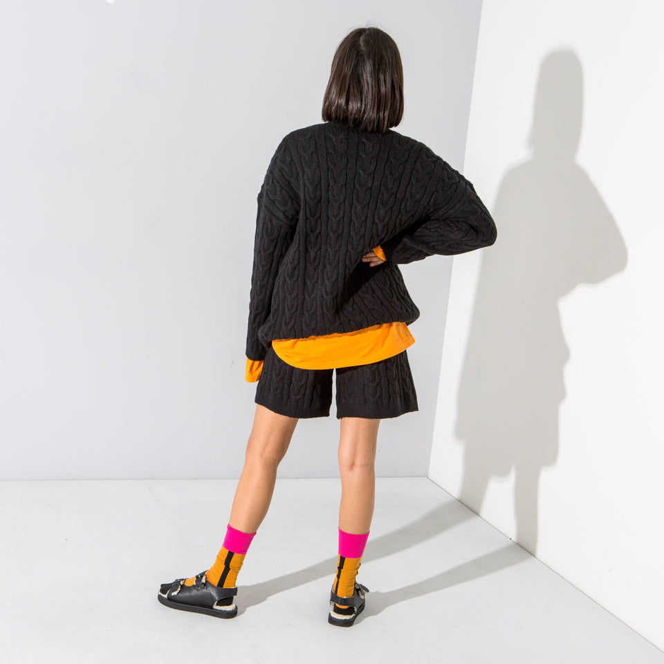Black Cable Knit Shorts & Jumper Set*