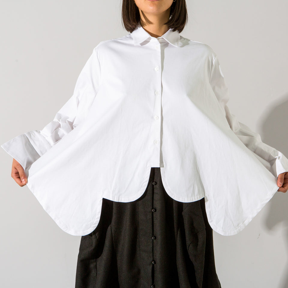 White Curved Hem Trapeze Shirt*