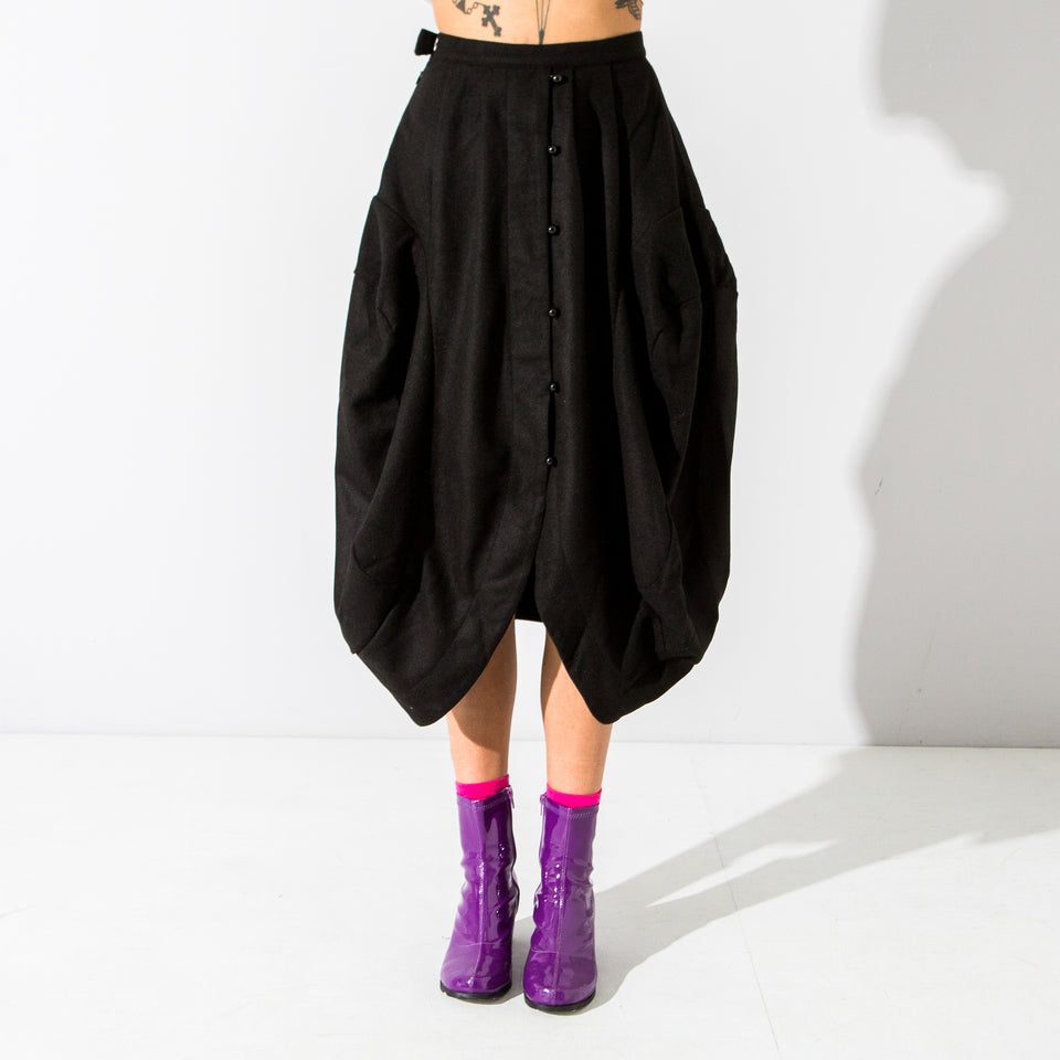 Black Button Up Oval Skirt**