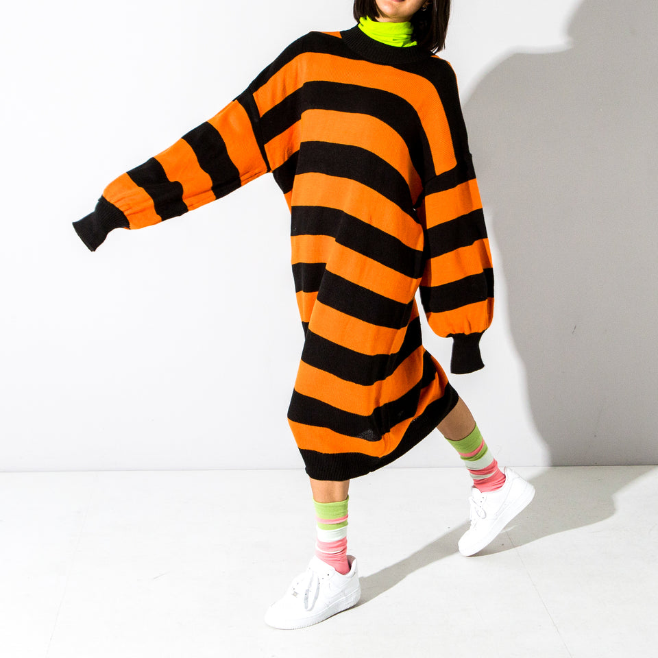 Supersize Orange Striped Jumper Dress*