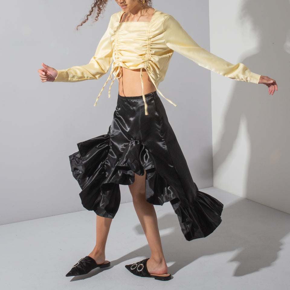 Black Satin Ruffle Skirt*