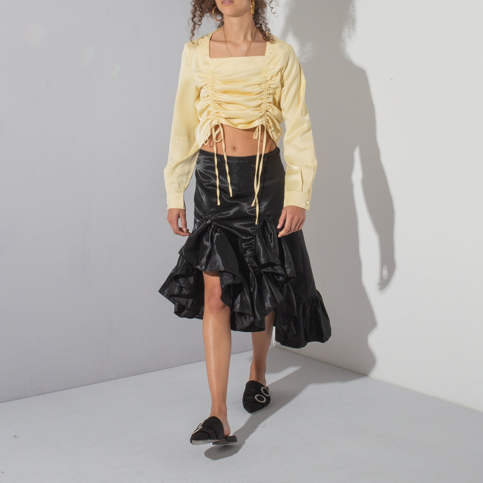 Yellow Satin Ruched Crop*
