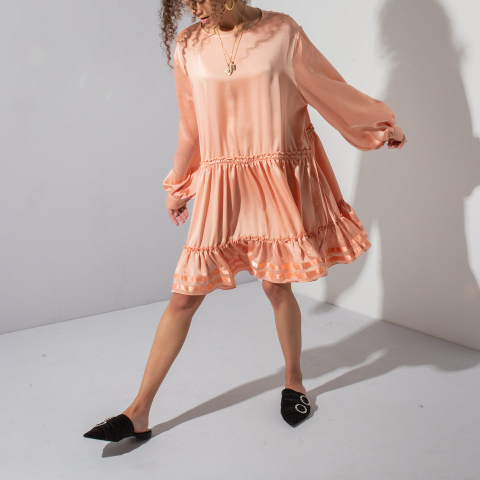 Peach Satin Dress*