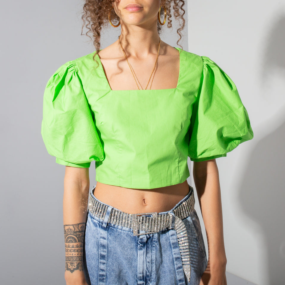 Green Puffy Sleeve Crop*