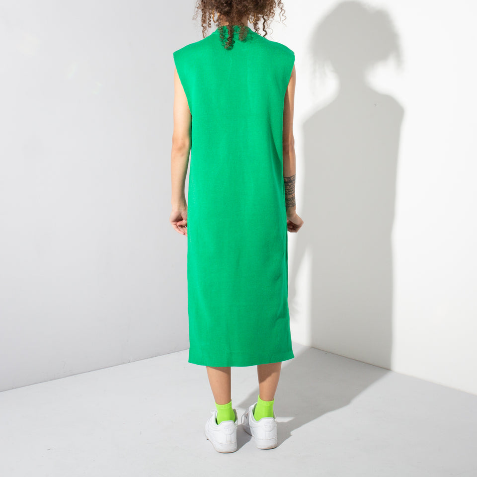 Green Vest Shape Midi Dress*