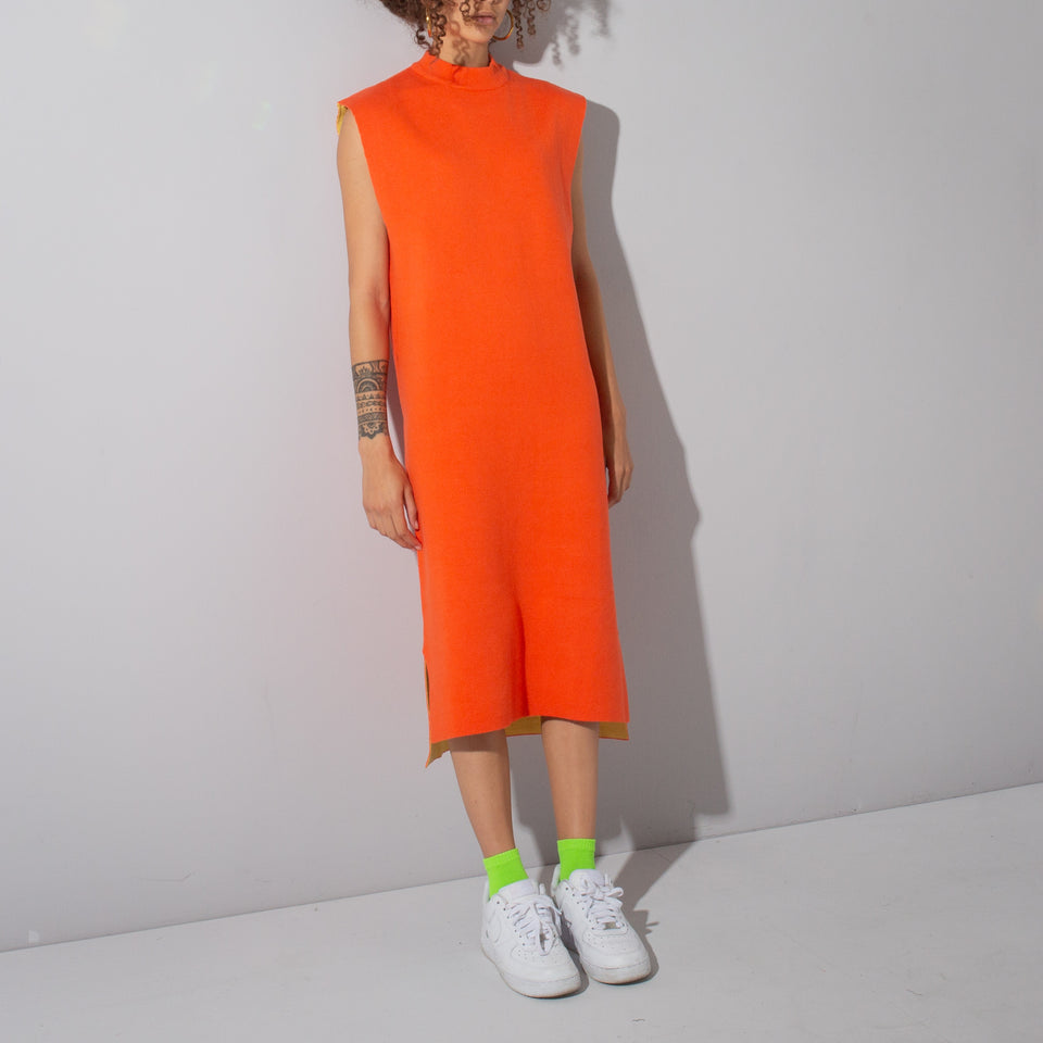 Orange Vest Shape Midi Dress*