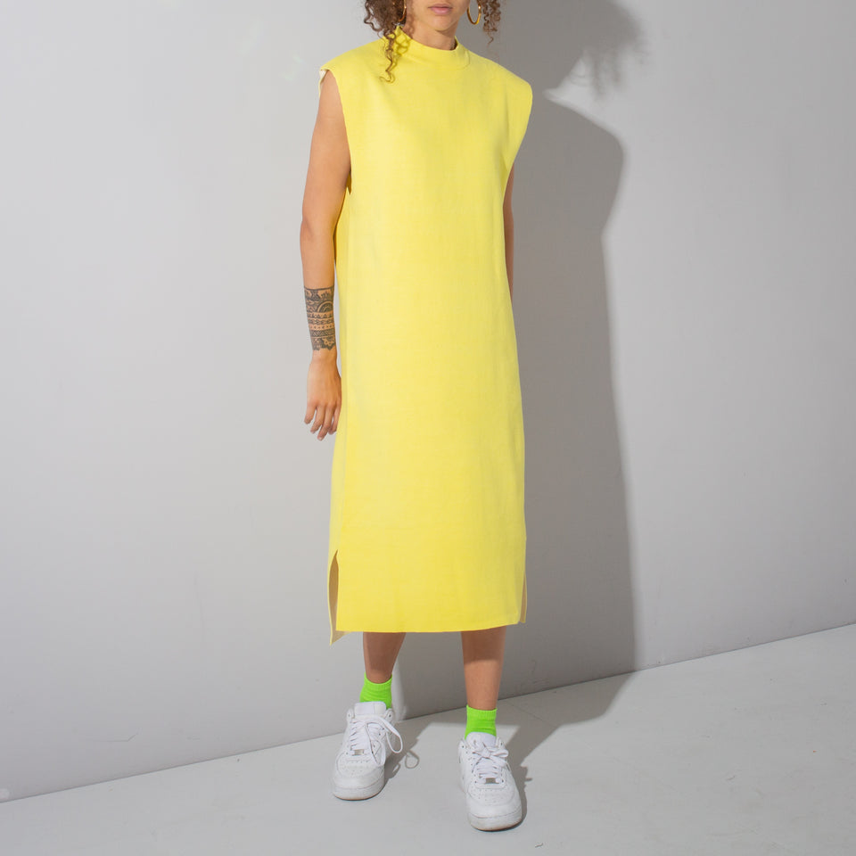 Yellow Vest Shape Midi Dress*
