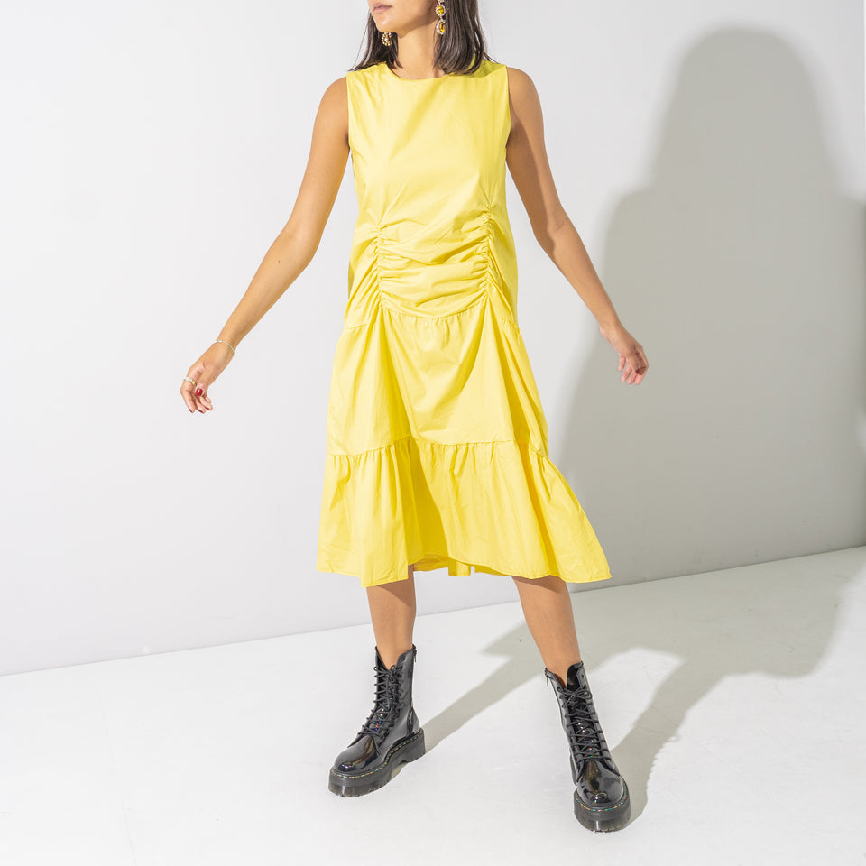 Yellow Ruched Midi Dress*