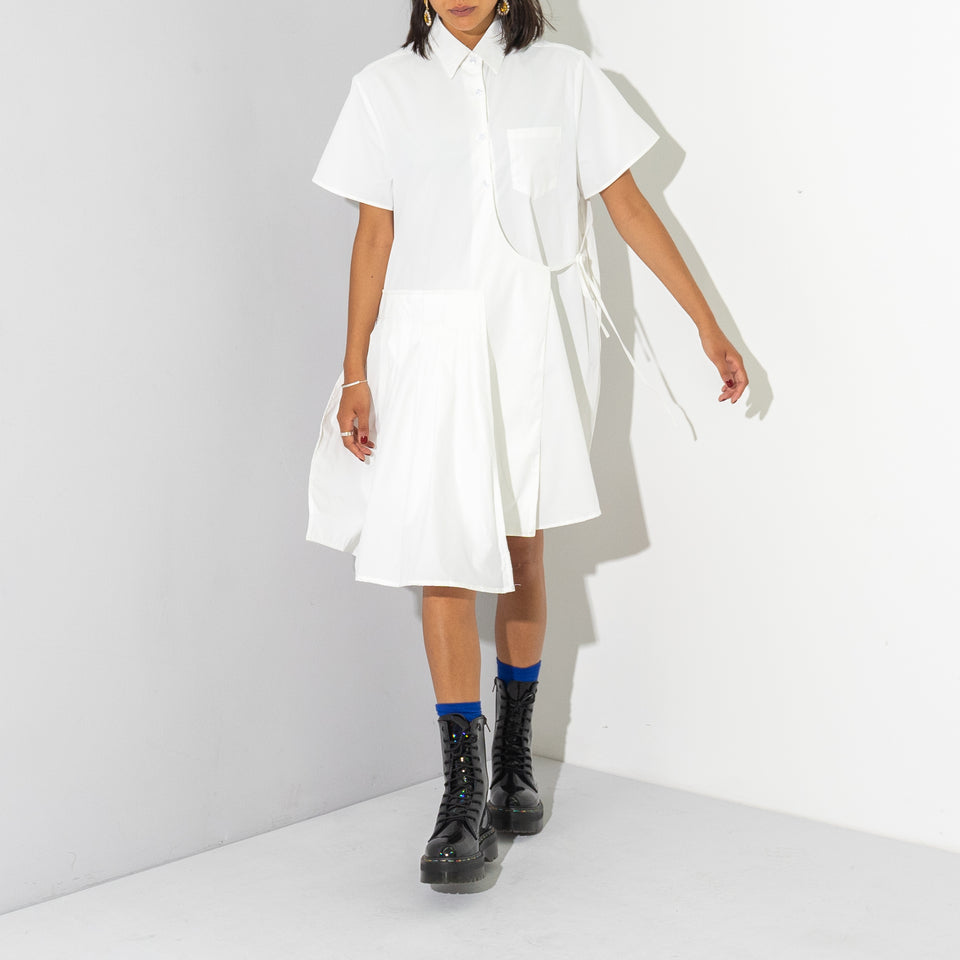 White Pleated Shirt Dress*