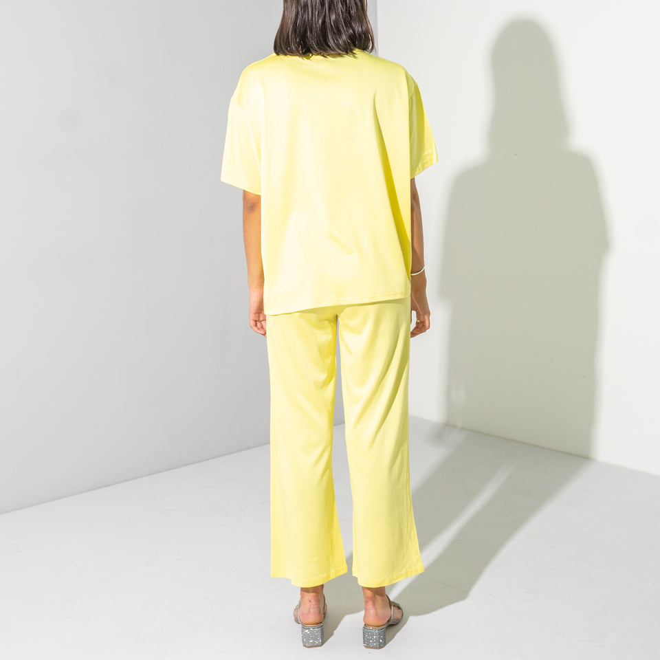 Yellow Shimmer Ruched T-Shirt Set*