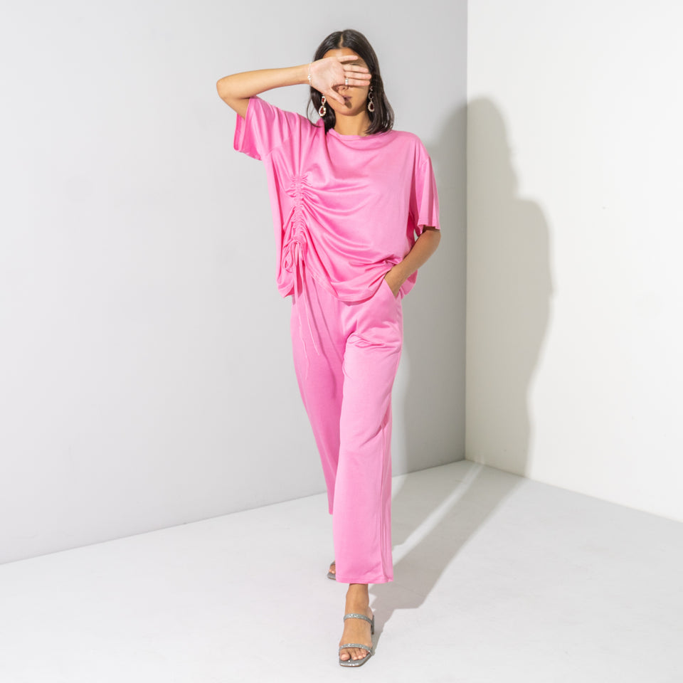 Pink Shimmer Ruched T-Shirt Set*