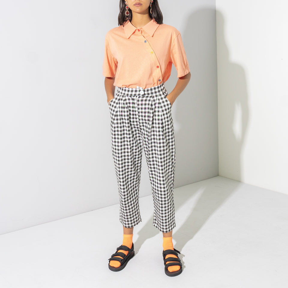 Black and White Check Balloon Pants*