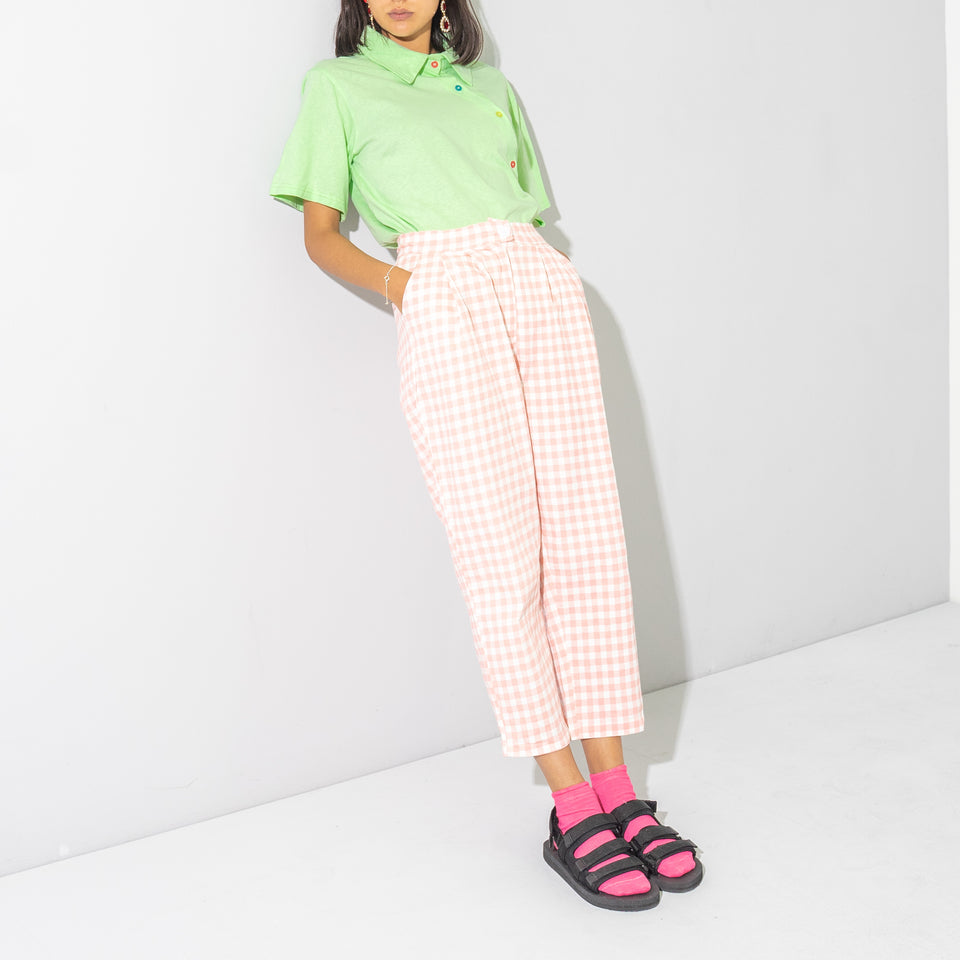 Pink and White Check Balloon Pants*